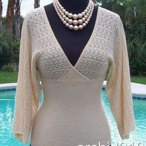 Cache Plunging Double V Neck Wrap Peek A Knit Top